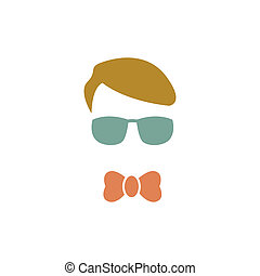 azul, logotipo, jovem, óculos