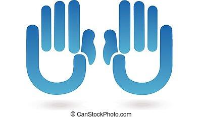 azul, logotipo, manos