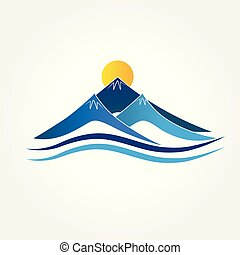 azul, logotipo, montanhas