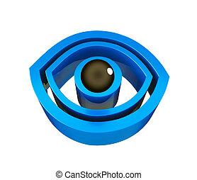azul, logotipo, ojo