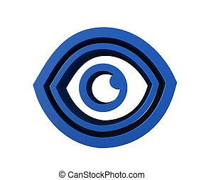 azul, logotipo, ojo, icono