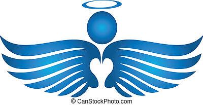 azul, logotipo, orando, anjo