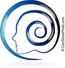 azul, logotipo, saúde, mental