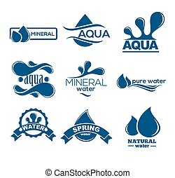 azul, logotipos, mineral, ícones, collection., set., aqua, etiqueta, water.