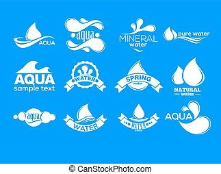 azul, logotipos, mineral, ícones, collection., set., aqua, etiqueta, water.
