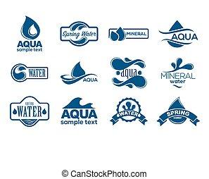 azul, logotipos, set., etiqueta, para, mineral, water., agua, iconos, collection.