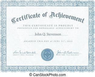 azul, logro, vector, certificado