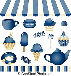 azul, loja, doce