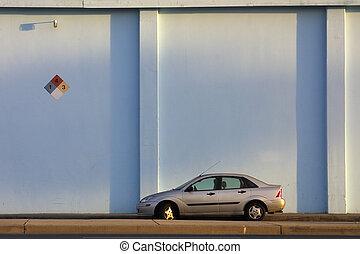 azul, lotes, car, logo, pequeno, estacionado, grande,...