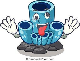 azul, loucos, coral, esponja, mar, sob, caricatura