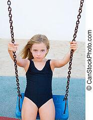 azul, loura, swimsuit, balançando, balanço, menina