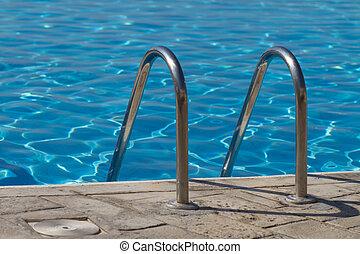 azul, luminoso, piscina, natação