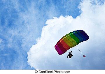 azul, luminoso, voando, skydiver, sky.