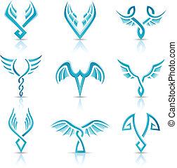 azul, lustroso, abstratos, asas