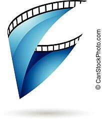 azul, lustroso, bobina película, ícone