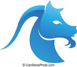 azul, lustroso, cabra