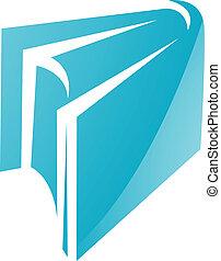 azul, lustroso, livro, ícone