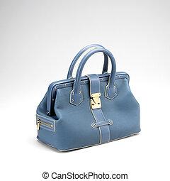 azul, luxery, na moda, couro, saco mão