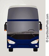 azul, luxo, bus., frente, lado