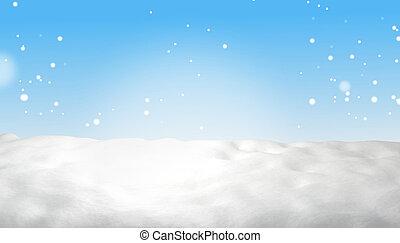 azul, luz del invierno, cielo, nieve, 3d-illustration, plano de fondo