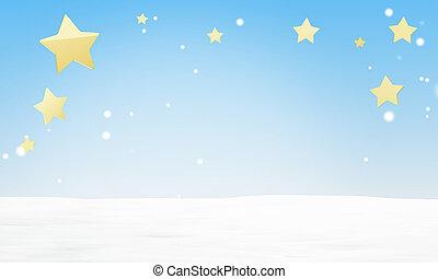 azul, luz del invierno, encima, estrellas, cielo, nieve, 3d-illustration, plano de fondo