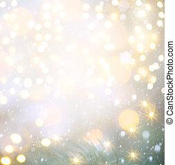 azul, luzes, arte, Natal, fundo