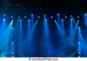 azul, luzes estágio, em, a, concerto