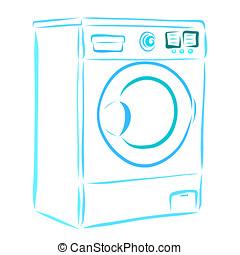 azul, máquina, lar, lavando, eletrodomésticos