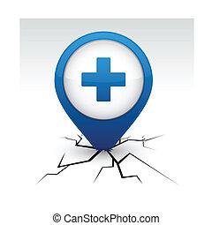 azul, más, crack., icono