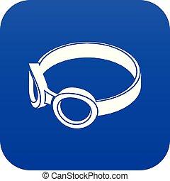 azul, máscara, anteojos, vector, icono, soldadura