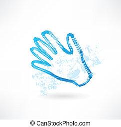 azul, mão, grunge, ícone