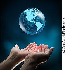 azul, mãos, mundo
