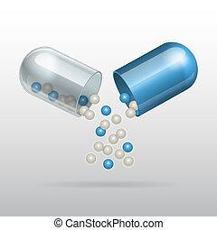 azul, médico, cápsula, abertura