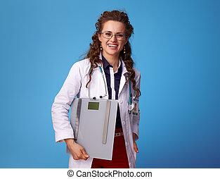 azul, médico de mujer, médico, escalas, feliz