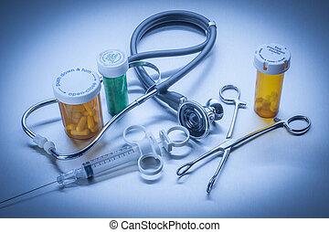 azul, médico, objetos, cuidados de saúde