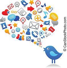 azul, mídia, social, pássaro, ícones