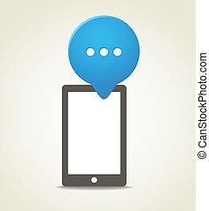 azul, móvel, modernos, telefone, fala, nuvem