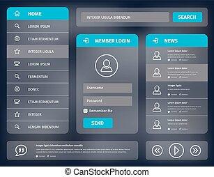 azul, móvil, vector, diseño, interfaz de usuario