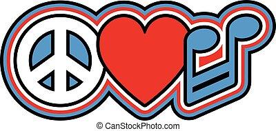 azul, música, paz, amor, vermelho