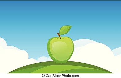 azul, maçã, céu, símbolo, -, suculento, fruta, vetorial, modelo, sob, bandeira, jardim