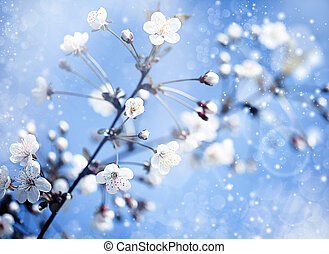azul, maçã, fundos, abstratos, árvore, optimista, sob,...