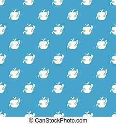 azul, maçã, padrão, verme, seamless, vetorial