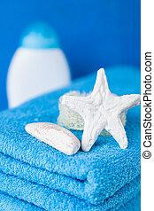 azul, macio, toalhas