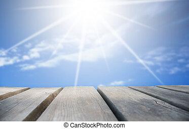 azul, madeira, ensolarado, céu, tábua, fundo