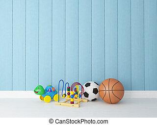 azul, madeira, fundo, brinquedos