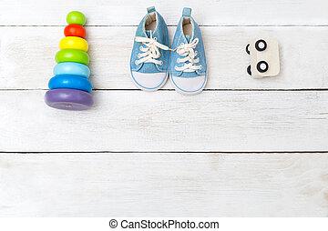 azul, madeira, toys., sneakers, acima, bebê, vista