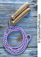 azul, madeira, vindima, corda, pular, tábua