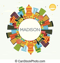 azul, madison, wisconsin, edifícios, cor, céu, space., skyline, cópia