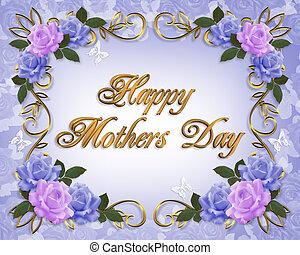 azul, madres, lavanda, rosas, día, tarjeta