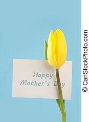 azul, madres, tulipán amarillo, plano de fondo, día, tarjeta, feliz
